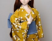 Dollfie Dream Yellow Yukata Kimono (Fits all Sizes)