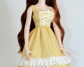 Dollfie Dream Yellow Flowery Print Country Summer Dress