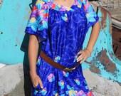 Dream A Little Dream - Vintage Boho Summer Muumuu Dress, Short Blue Nightgown, OSFA