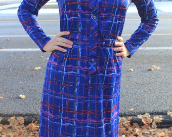 French Secretary - Vintage 70s Blue Colorful Plaid Dress, Indie Hipster Button Up, Small