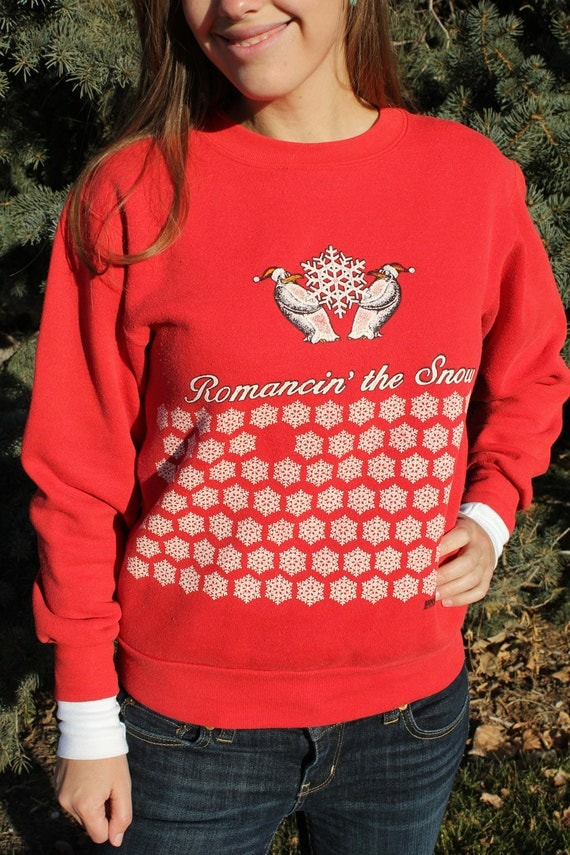 Romancing the Snow - Vintage 80s Red Snowflake Sweatshirt Indie Retro Sweater, Jansport, Small