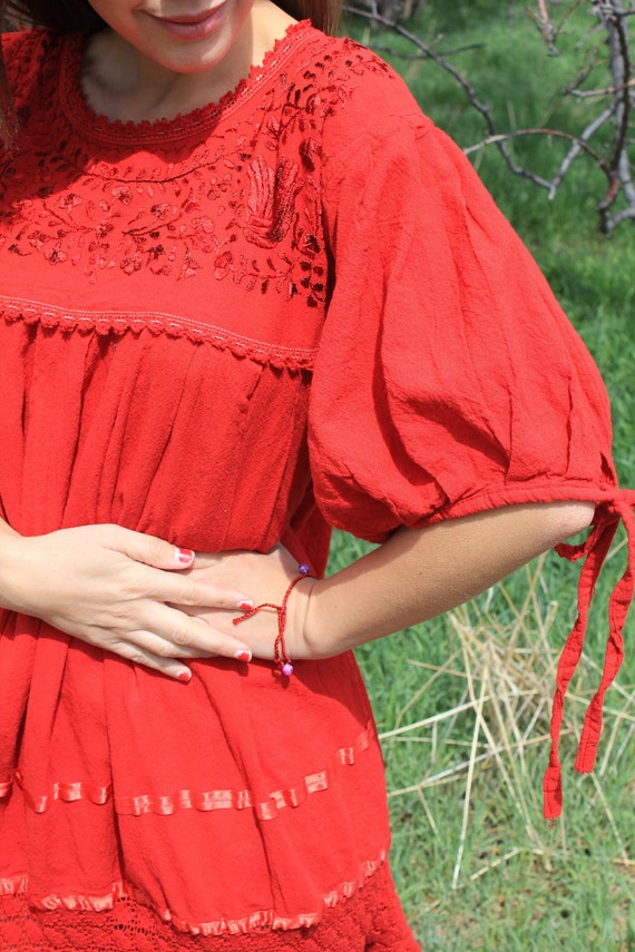 Chica Roja - Red Boho Mexican Birds Ethnic Goddess Dress, Embroidered, OSFM