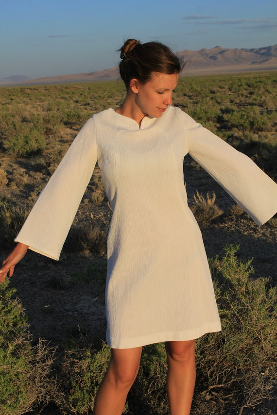 Earth Angel - Vintage 1970s Homemade Mod Babydoll Dress, Short White, Small / Medium