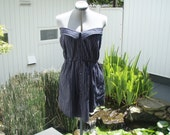 OOAK, upcycled strapless shirt dress... black with white and blue pin stripes