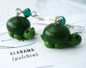 Little Green Turtle Polymer Clay Dangle Earrings - Reptiles, Pets, Animals