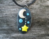 Crescent Moon and Hanging Star Glow in the Dark Polymer Clay Necklace - Galaxy, Space