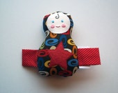 SALE 30% OFF - Brown Baby Toy Red Star Plush Doll