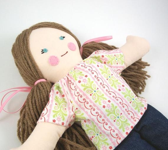 SALE 30% OFF - Simple Rag Doll Brown Hair Blue Eyes Pink Shirt Blue Jeans
