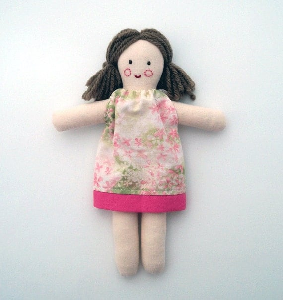 Miniature Cloth Doll, Brown Hair Brown Eyes Pink Floral Dress