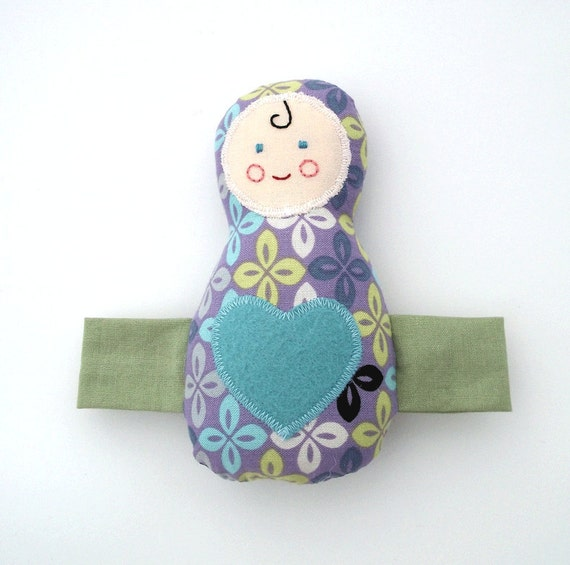 Purple Baby Toy Plush Doll Blue Heart