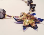 Purple and Gold Starfish Glass Necklace