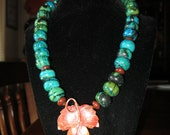 """Artisan Copper and stone Bohemian Copper Maple Leaf 18"""" necklace"""