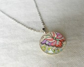 Hand painted on original art, Butterfly Wisper, with silver necklace