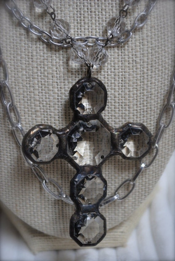 Vintage soldered crystal cross pendant necklace in antique silver