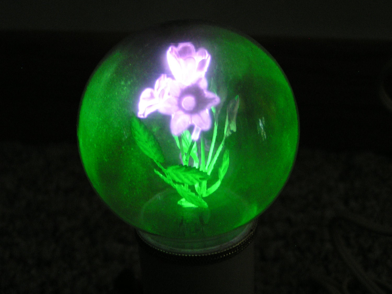 Vintage Neon Argon Purple Flower Light Bulb With By