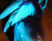 Feather Extension Clip Bright Blue and Purple Feather Hair Clip in Feather Extension