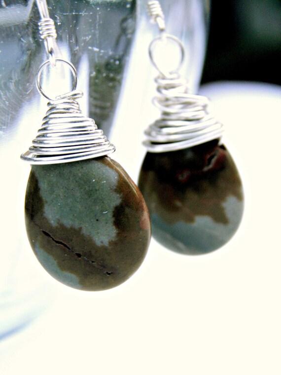 Sterling Silver Jasper Earrings, Bamboo Jasper Earrings Wire Wrapped Gemstone Jewelry All Sterling Silver