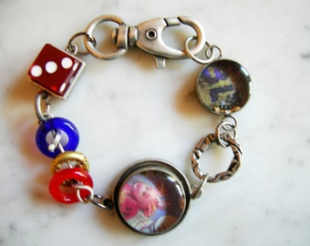 Industrial Chic Metal Urban Altered Art Mixed Media Steampunk Charm Bracelet