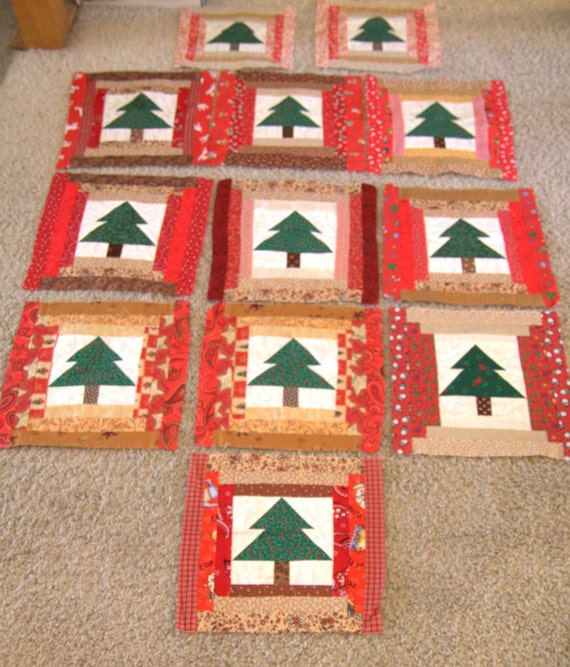 Scrappy Christmas Tree Quilt Blocks, Patchwork, with Extras