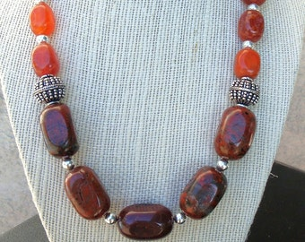 Brown/ burnt orange Jasper and Fire Agate Necklace with matching earrings