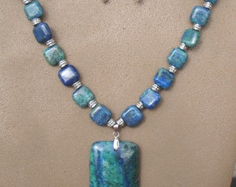 Blue/Teal Lapis Chrysocolla necklace with Pendant and matching earrings