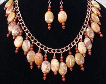 Golden Sea Sediment Jasper Necklace with matching Earrings