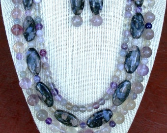 Grey Rainbow Jasper with Purple Fluorite Necklace and matching Earrings