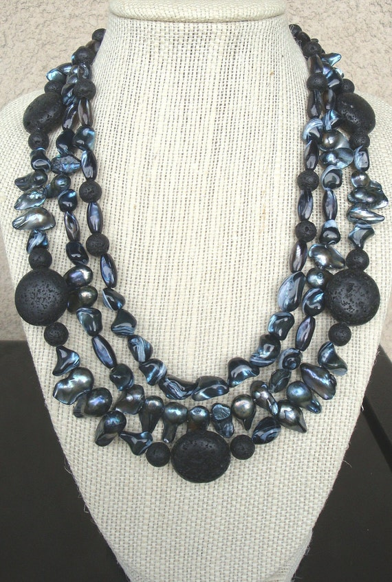 Black Shell, Fresh Water Pearl, and Lava Rock Necklace with matching earrings