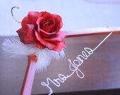 Wedding Dress Hanger with Rose Centerpiece -  Custom Weddig Hanger