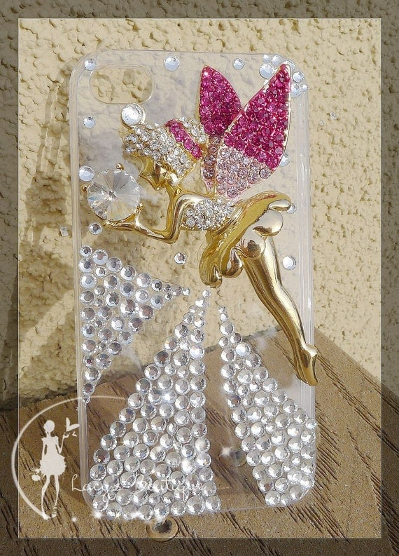 Lacy's 3D Crystal Bling-bling Tinker Bell Iphone 4 Case