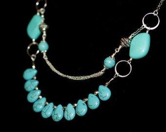 Turquoise necklace, Tibetan style ,Turquoise Beaded Necklace, Silver and Turquoise Necklace.