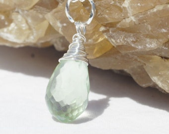 Wire Wrapped  Pendant. Green Amethyst Briolette and Silver Pendant. Gemstone pendant