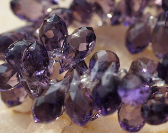 Faceted Crystal Glass Amethyst Briolette, 11.5X 6 mm . Wire Wrapped Briolette, Jewelry Supplies