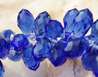 Sapphire Blue Faceted Crystal  Briolette, 11.5X 6 mm . Wire Wrapped Briolette, Jewelry Supplies