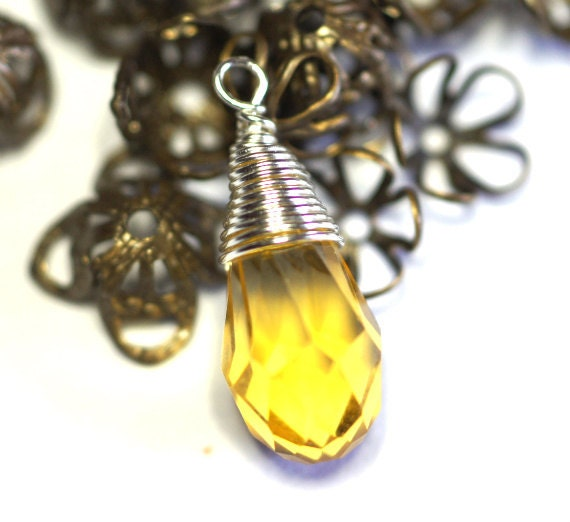 Wire Wrapped Pendant Citrine  Birthstone November Jewelry Supplies