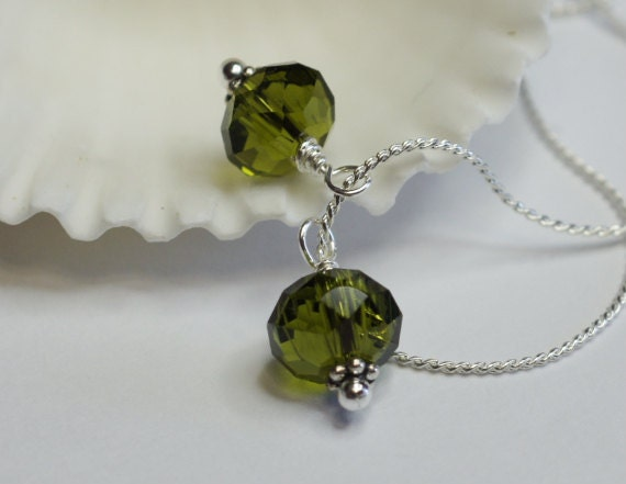 Green Garnet. Crystal Gem Cut Rondelle Wire Wrapped - Add Dangle