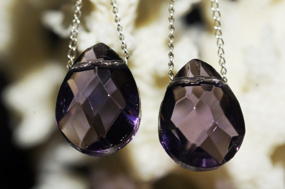 Crystal Glass Amethyst Faceted Flat Teardrops 10X15mm set of 2 Baed Supplies