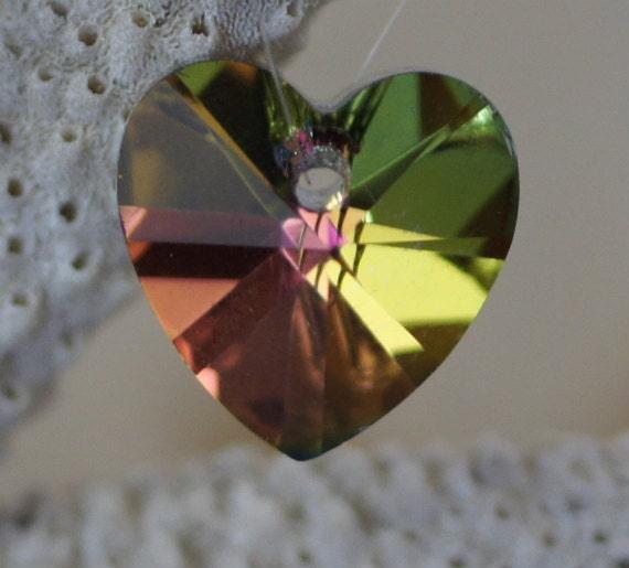 Water Melon Crystal Heart Pendant 14mm