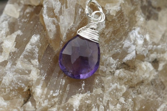 Wire Wrapped Amethyst Pendant. Sterling silver wire wrapped. Wire Wrapped Gemstone Briolette Add dangle 16.5X8.5mm