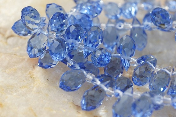 Faceted Crystal Glass Blue Topaz  Briolette, 11.5X 6 mm . Wire Wrapped Briolette, Jewelry Supplies