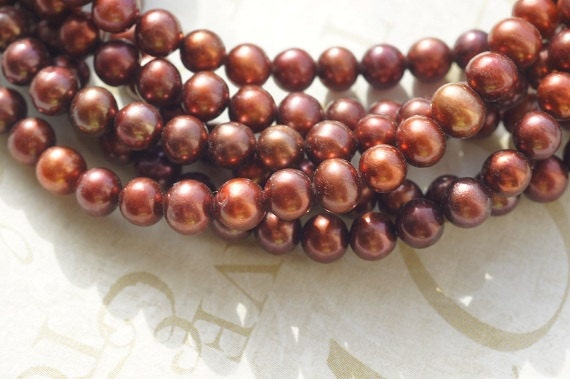 Deep Red Freshwater Pearl , Round Off. 5 to 5.5 mm. Brithstone June. Bride Bridal