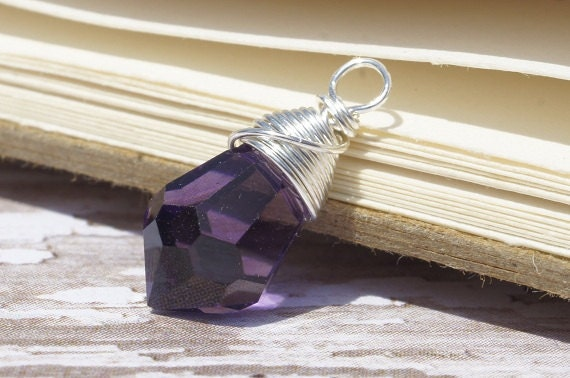 Wire wrapped Briolette. Purple Briolette. Wired Beds. Add Dangle.Jewelry Making Supplies
