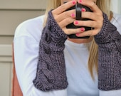 Fingerless Mitts Gloves Armwarmers Fortune Cookie Cables Knit in Lavender