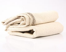 """ORGANIC: wild-silk towel 27 x 55 """" in off-white with chocolate brown embroidery"""