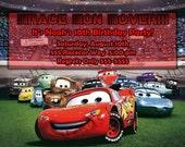 "Disney's Pixar Cars Custom Invitation 4.25"" x 5.5"" in jpeg format for you to print"