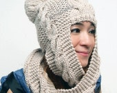 Hand Knit Hat  hooded scarf  Cable Scarf Hat in Oatmeal  Winter Accessories