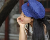 handmade crochet  women straw hat  in blue color with a red star new style-- Red Guards hats