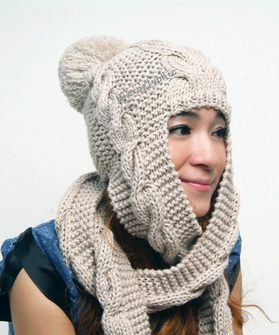 Knitting Patterns For Scarves And Hats : Items similar to Hand Knit Hat hooded scarf Cable Scarf Hat in Oatmeal Winter...