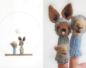FINGER PUPPET MOBILE / Wall Hanging, Kangaroo & Camel Family, felted wool, baby, children, kids, eco-friendly toy, nursery decor