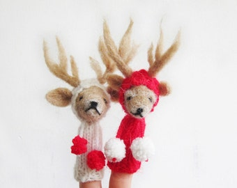 Finger Puppet Mobile, Needle Felted Red White Reindeer Couple, nursery decor, toy, baby, children, eco friendly, christmas
